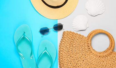 Summer composition with beach accessories on color background