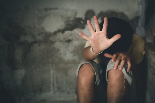 Stop abusing violence. terrified , A fearful child, Children violence and abused concept.