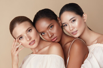 Beauty. Group Of Diversity Models Portrait. Multi-Ethnic Women With Different Skin Types Posing On...