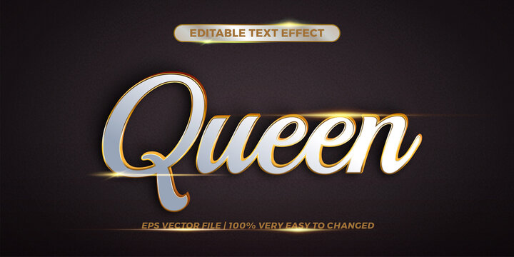 Editable 3d text effect styles mockup concept - Queen words with white and Gold color