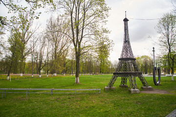 Gusev, Kaliningrad Region, Russia - May 2, 2020: The layout of the Eiffel Tower. Copy of famous landmark. High quality photo