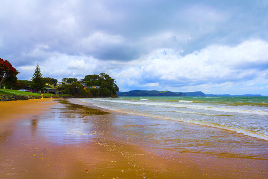 Panoramic View of Red Beach, Hibiscus Coast Auckland New Zealand; During High Tide and Cloudy Period