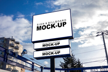 Mock up blank outdoors billboard and signboard on large pole