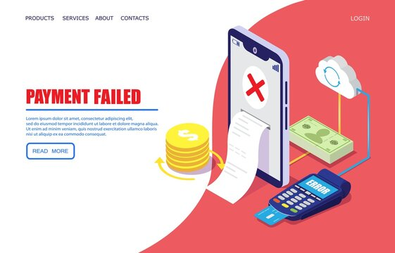 Payment failed vector website template, web page and landing page design for website and mobile site development. Cross mark on smartphone screen. Mobile payment failure alert concept.