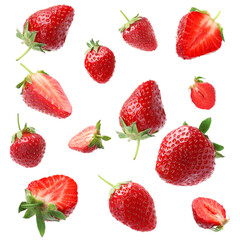 Set with ripe strawberries falling on white background