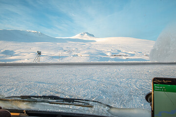 A winter landscape in the arctic circle.