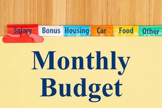 Monthly budget type message with yellow file tabs
