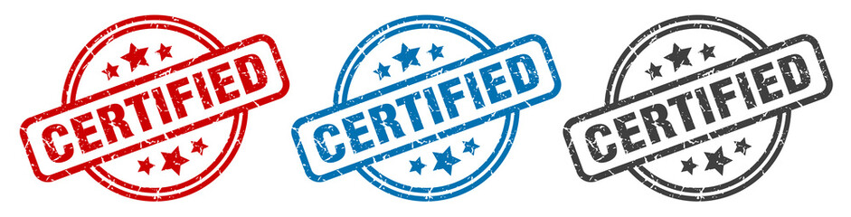 certified stamp. certified round isolated sign. certified label set