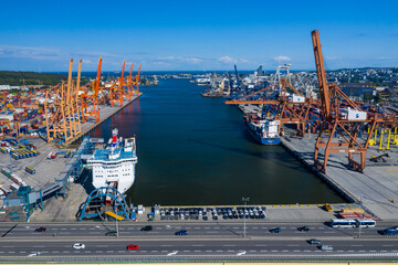 Gdynia Port Aerial View. Baltic Container Terminal in Gdynia Harbour from Above. Pomeranian Voivodeship, Poland.