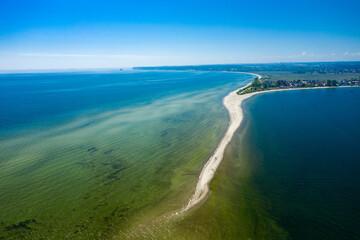 Rewa, Poland. Aerial view of Isthmus Rewski in summer at the Baltic Sea in Rewa, Pomeranian voivodship, Poland.