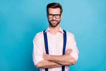 Photo of handsome macho cheerful business man cool trend clothes guy smile without teeth eyesight...