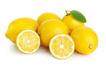 Wall Mural - heap of fresh lemon and lemon slices isolated on white background