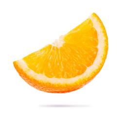 Wall Mural - single slice of orange isolated on white background