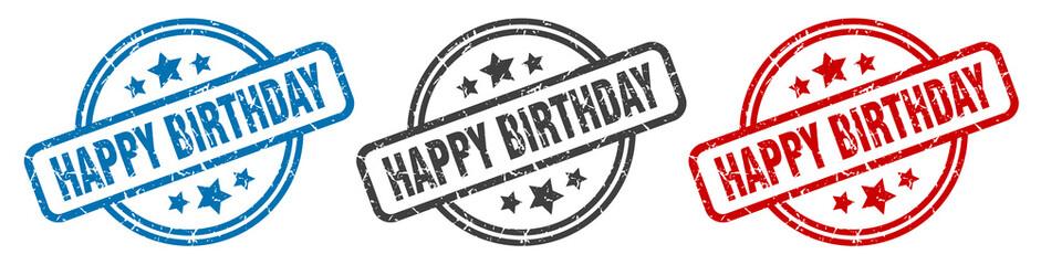 Fototapeta happy birthday stamp. happy birthday round isolated sign. happy birthday label set obraz