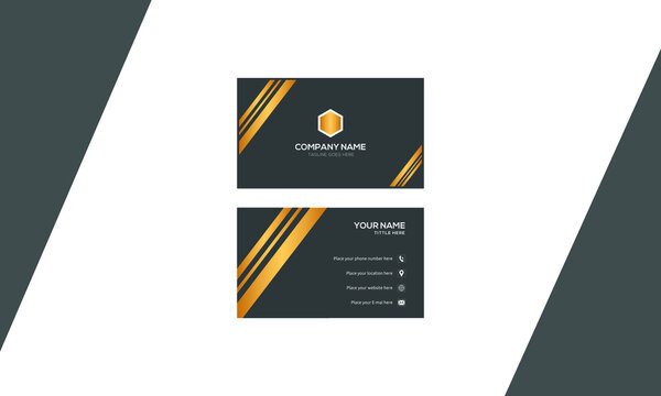 Black and golden color print ready modern creative business card and name card, Horizontal simple design template vector, layout in rectangle size