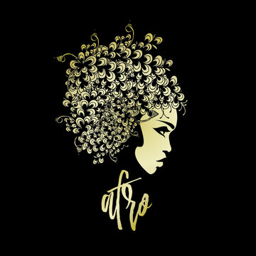 Beautiful Afro-American woman portrait.Flower wig and elegant makeup.Profile view face.Hair salon and beauty studio logo.Fashion icon.Gold colored.