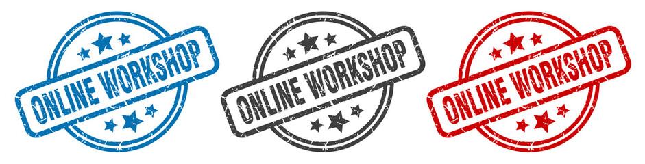 online workshop stamp. online workshop round isolated sign. online workshop label set