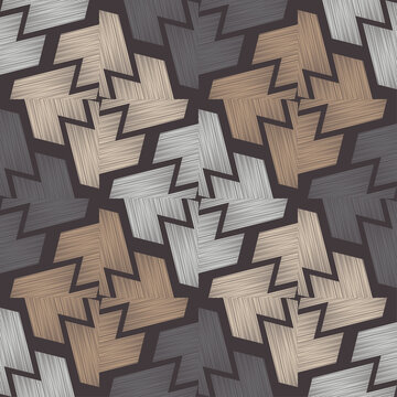 Brown floor with wooden texture. Geometry. Seamless pattern. Vector illustration for web design or print.