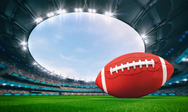 Magnificent outdoor stadium with a american football ball on the green lawn of the field with spectators on the stands. Professional world sport 3D illustration background.