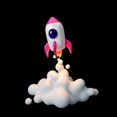 Fototapeta Space rocket launch. 3d render obraz