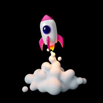 Space rocket launch. 3d render