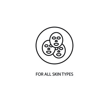 For all skin types sticker and badge for cosmetic products. Vector icon illustration.