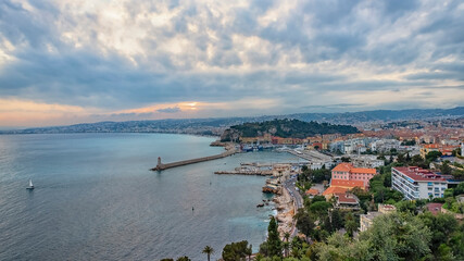 Fototapete - The city of Nice at sunset on the French Riviera