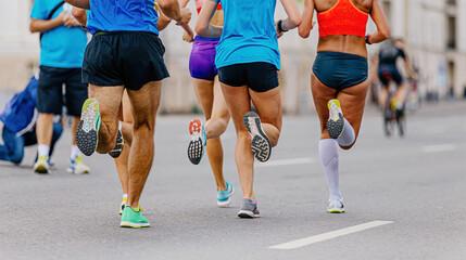 Wall Mural - back five runners men and women running city marathon race