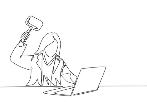 Single continuous line drawing of young rage businesswoman ready to smack her laptop using big hammer at the office. Business risk concept one line draw design vector graphic illustration