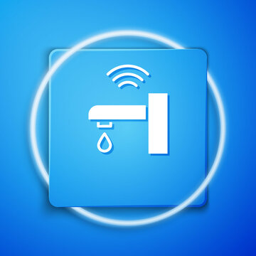White Smart water tap system icon isolated on blue background. Internet of things concept with wireless connection. Blue square button. Vector