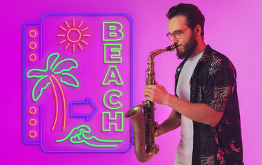 Young jazz musician playing the saxophone on gradient studio background in neon light with sign BEACH. Concept of music, hobby, festival. Joyful inspired artist, flyer. Summertime, sale, vacation. Wall mural