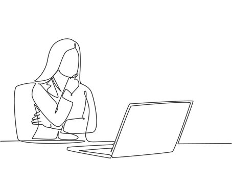 Single continuous line drawing of young female startup founder siting in front of computer thinking sales strategy to her company. Marketing strategy concept one line draw design vector illustration