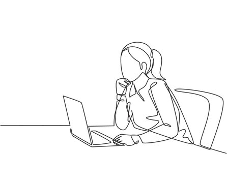 One single line drawing of young female employee sitting in front of the laptop and thinking business solution at the office. Business idea concept continuous line draw design vector illustration