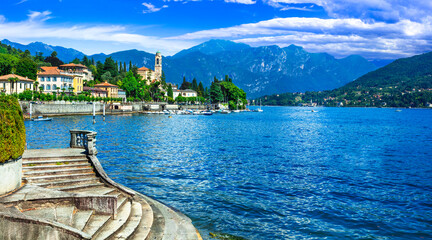lake scenery - beautiful Lago di Como with splendid views. Village Tremezzina. Lombradia, Italy