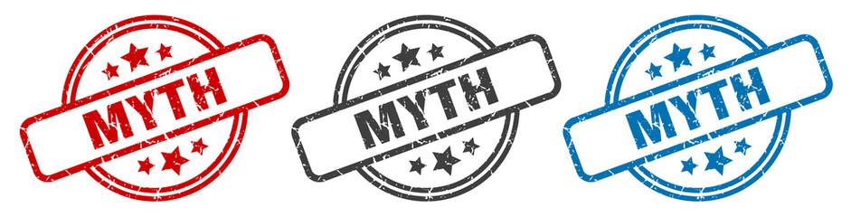 myth stamp. myth round isolated sign. myth label set