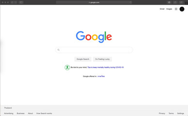 June 19, 2020, Thailand, Bangkok. Google search engine homepage and cursor on the screen computer.