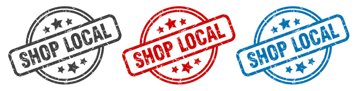 shop local stamp. shop local round isolated sign. shop local label set