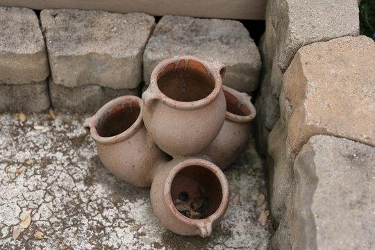 Brown garden stacked ceramic pots