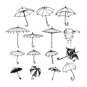 set of various umbrellas, sun & rain protection, elements of decorative ornament & pattern, vector illustration with black ink contour lines isolated on a white background in doodle & hand drawn style