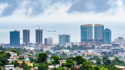 It's Panoramic view of Port of Spain, Trinidad and Tobago