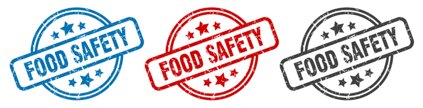 food safety stamp. food safety round isolated sign. food safety label set