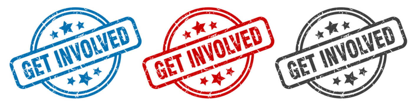get involved stamp. get involved round isolated sign. get involved label set
