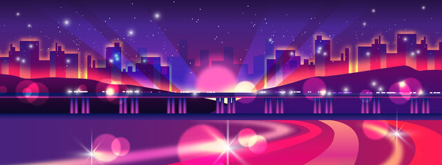 Photo sur Toile Violet Night life banner with interstate, lights, monorail, cityscape, stars. Neon city background with skyscrapers, road, modern buildings exterior, flares, floodlights. Urban landscape in violet colors
