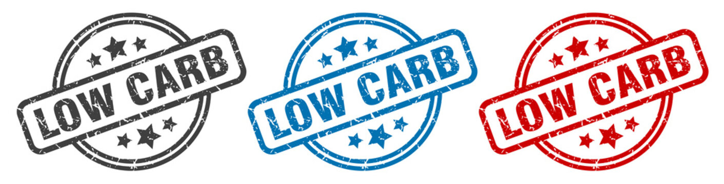 low carb stamp. low carb round isolated sign. low carb label set