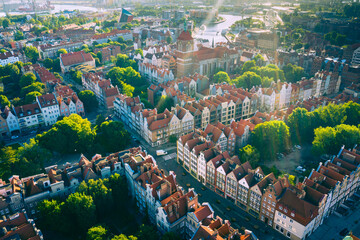 Aerial view of Old Town in Gdansk. Tricity, Pomerania, Poland.