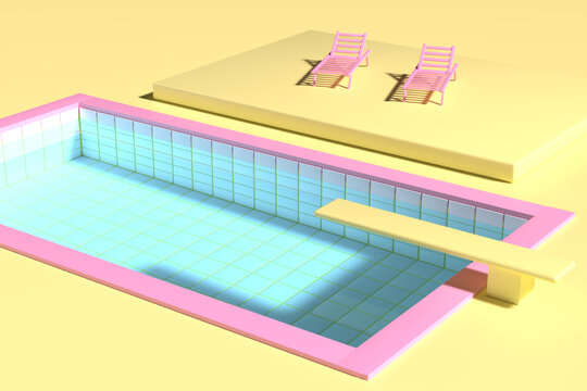 3D render. Sunbeds near the pool with springboard in pink and yellow colors. Minimalistic style, aesthetic and surrealism. Summer vacation vibes