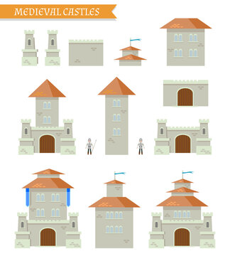 Template constructor. Old fortress. Castle with towers. Vector.