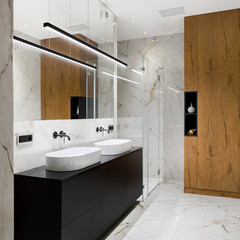Elegant bathroom with two washbasins