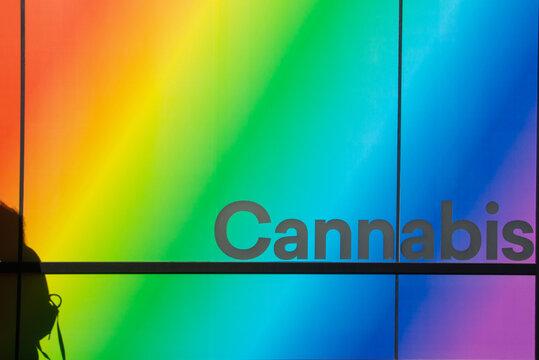Rainbow colors on cannabis shop