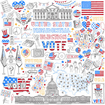 United States presidential election doodles set. Political campaign and voting attributes, patriotic symbols, american flags and maps. Hand drawn vector icons isolated on white background.